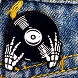 Skeleton Vinyl DJ Enamel Pin